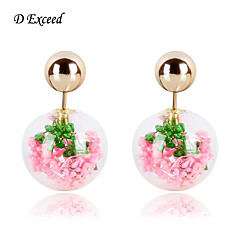 D Exceed Women's Exquisite European Style Alloy Glass Double Dried Flower Earrings(More Colors)