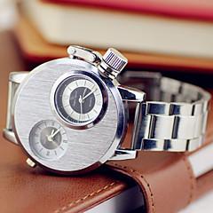 Men's Dual Time Zones Alloy Band Analog Quartz Wrist Watch(Silver)