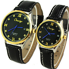 Couple's Classic Dial  Calendar Leather Band Quartz Analog Wrist Watch Cool Watches Unique Watches