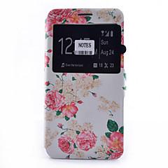 Voor Samsung Galaxy Note Kaarthouder / met standaard / met venster / Flip / Patroon hoesje Volledige behuizing hoesje Bloem Zacht PU-leer
