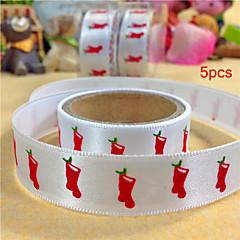 5pcs  Christmas Silk Tape Christmas Stockings Diy Tape Birthday Dots Christmas Cartoon