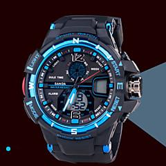 Herre Armbåndsur Japansk Quartz LCD / Kalender / Kronograf / Vannavvisende / Dobbel Tidssone / alarm / Selvlysende Gummi Band Svart Merke-
