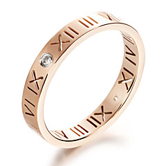 Ms Roman Numerals Stainless Steel Plating 24 K Rose Gold Ring