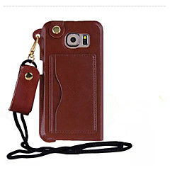 Pu Leather Card Slot Hang Rope Hanging Around His Neck cell Phone Holster For GALAXY S 6/S 5/S 4/S 3 (Assorted color)