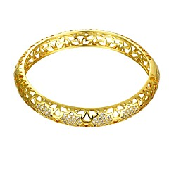 Vintage Polygonal Diamant Style 5.6*5cm Women's Multicolor Gold-Plated Brass Bangles(Golden&Rose Gold)(1 Pc)