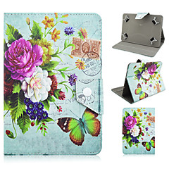 Peony and Butterfly Pattern High Quality PU Leather with Stand Case for 7 Inch Universal Tablet