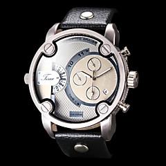 reloj doble movimiento doble huso horario funcional de la PU de cuarzo analógico de pulsera banda de los hombres (colores surtidos)