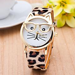 Dames Modieus horloge Polshorloge Kwarts / PU Band Luipaard  Kat Vrijetijdsschoenen Zwart Wit Bruin Wit Zwart Koffie Luipaard