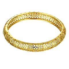 Vintage Delicate Diamante Irregular Style 5.6*5cm Women's Multicolor Gold-Plated Brass Bangles(Golden&Rose Gold)(1 Pc)