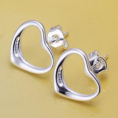 Κουμπωτά Σκουλαρίκια Επάργυρο Heart Shape Ασημί Κοσμήματα 2pcs