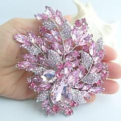 4.33 tommer sølv-tone pink rhinestone krystal blomst broche art deco broche buket