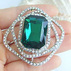 1.97 Inch Silver-tone Turquoise Rhinestone Crystal Brooch Pendant Art Decorations