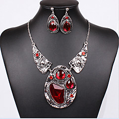 MPL European Retro Red Antique Silver Plated Necklace Earrings Set