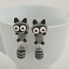 HUALUO®Creative Handmade Polymer Clay Raccoon Earrings