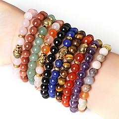 Beadia 1Pc Fashion 8mm Round Stone Elastic Strand Bracelet Gold Buddha Bracelet 9 Colors U-Pick