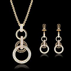 Lucky Doll Women's Vintage Crystal Rose Gold Plated Zirconia Geometric Necklace & Earrings Jewelry Sets