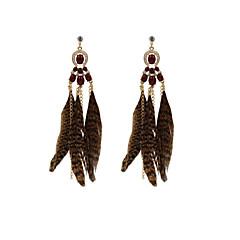 Fashion Women Stone Set Feather Drop Earrings