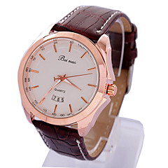 Men's Cool Fasion Personality Round Dial Leather  Band Quartz Analog Wrist Watch(Assorted Color)