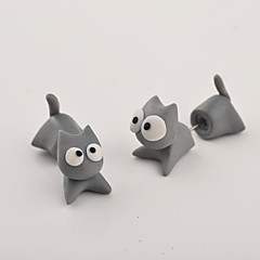 HUALUO®Creative Handmade Clay Animal Cat Earrings