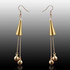 European  fashion golden trumpets vertical double ball earrings  Drop Earrings Wedding / Party / Daily / Casual 2pcs