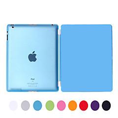 natusun ™ flyttbar multi-fold pu lær Smart Cover tynn gjennomsiktig hard plast skall for iPad2 / iPad3 / ipad4