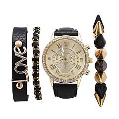 Men's Women's Unisex Fashion Watch Bracelet Watch Quartz PU Band Bohemian Elegant Black Brand