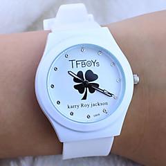 cartoon kinderen tfboys klaver patroon kleurrijke siliconen band quartz analoog horloge