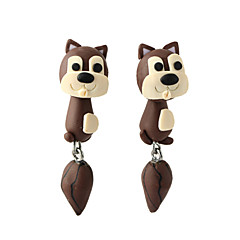 HUALUO®Creative Handmade Clay Animal Squirrel Split Personality Earrings