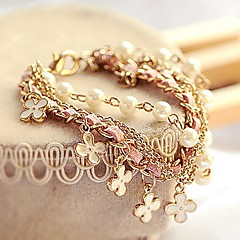 Fashion Korean Style White Pearl Clover Bracelet Leather Rope Bracelet