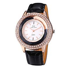 JYY® Women's Fashion Rose Gold Crystal Rhinestone Leather Strap Quartz Watches
