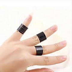 Unisex Ring Set European Style Black Multi Finger Ring(3pcs/set)