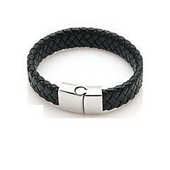 Braided PU Leather Bracelets With Stainless Steel Charm Design Bangles for Men  Jewelry