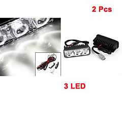 2 Pcs Car 12V White 3 LED DRL Daytime Running Light for Auto Car