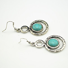 Vintage Look Antique Silver Plated Round Turquoise Amethyst Tiger Stone Drop Earring(1Pair)