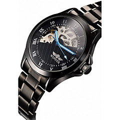 WINNER® Men's Skeleton Black Steel Band Automatic Mechanical Wrist Watch Cool Watch Unique Watch