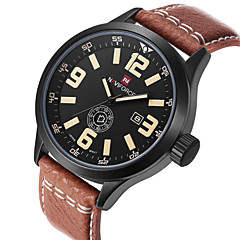 NAVIFORCE Men's Date Week Display Genuine Leather Strap Sports Watches Waterproof Wrist Watch Cool Watch Unique Watch