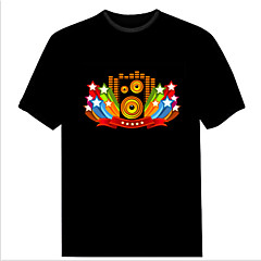 Men's Fashion Club Christmas Music Dance Party Light Up Flashing EL panel Sound Activated LED T-shirt