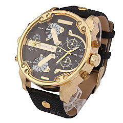 Men's Military Fashion Dual Time Zones Calendar Leather Strap Quartz Watch Wrist Watch Cool Watch Unique Watch