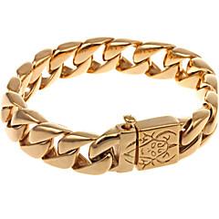 L:22CM W:1.5CM Stainless Steel 316L Bling Gold Antique Black Silver Men Link Chain Cool Bracelet