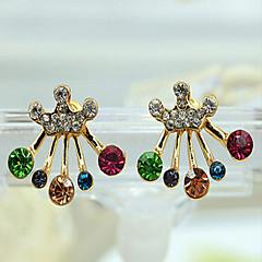 Kolczyki na sztyft Cyrkonia Kryształ górski Pozłacane Bowknot Shape Crown Shape Gold Tęczowy Biżuteria Na 2pcs