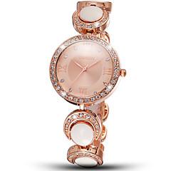 weiqin®womanファッションウォッチローマスタイルは、ゴールドホワイトラインストーンラウンドダイヤル女性は手首に時計を見てローズクォーツ