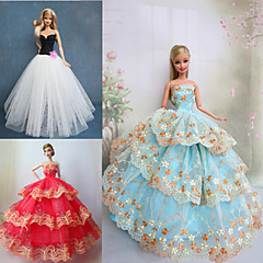 Princess Dresses For Barbie Doll Purple / Brown / White Dresses For Girl's Doll Toy