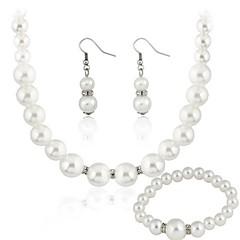 Biżuteria Ustaw Damskie Prezent / Strona Jewelry Sets Pearl imitacja Rhinestone Náušnice / Naszyjniki Biały