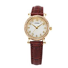 SINOBI® Business Lady Quartz Wristwatch Brown Leather Watch 11S8153L02 Fashion Wrist Watch Cool Watch