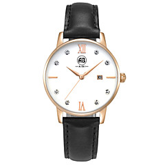AIBI® Women's Watch Simple principle Imitation Diamond Calendar Water Resistant/Water Proof Rose Gold Black leather Band Wrist Watch With Watch Box