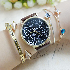 Dames Modieus horloge Armbandhorloge Kwarts Chronograaf PU Band Teksthorloge Zwart Wit Bruin Wit Zwart Bruin