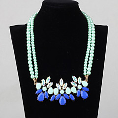 Women's  Pure Light Green Crystal Pearl Necklace 01
