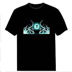 Lady's New Fashion Club Christmas Music Dance Party Light Up Flashing EL panel Sound Activated LED T-shirt