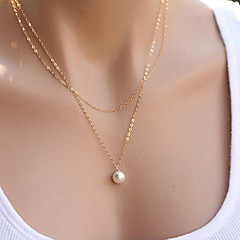 Women's Pendant Necklaces Pearl Necklace Jewelry Pearl Alloy Fashion Simple Style Double-layer Jewelry For Party Daily Casual Sports