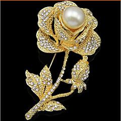 Női Melltűk Divat luxus ékszer jelmez ékszerek Gyöngy Hamis gyémánt Flower Shape Rózsa Ékszerek Kompatibilitás Esküvő Parti Különleges